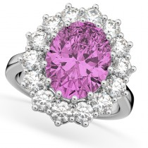 Oval Pink Sapphire and Diamond Halo Lady Di Ring 14k White Gold (6.40ct)