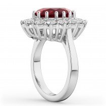 Oval Ruby & Diamond Halo Lady Di Ring 14k White Gold (6.40ct)