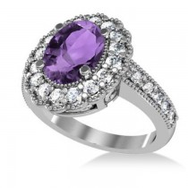 Amethyst & Diamond Oval Halo Engagement Ring 14k White Gold (3.28ct)