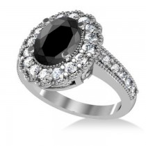 Black Diamond & Diamond Oval Halo Engagement Ring 14k White Gold (2.78ct)