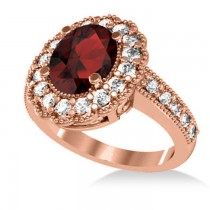 Garnet & Diamond Oval Halo Engagement Ring 14k Rose Gold (3.28ct)
