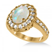 Opal & Diamond Oval Halo Engagement Ring 14k Yellow Gold (3.28ct)