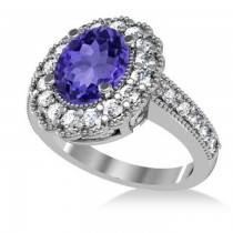 Tanzanite & Diamond Oval Halo Engagement Ring 14k White Gold (3.28ct)