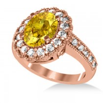 Yellow Sapphire & Diamond Oval Halo Engagement Ring 14k Rose Gold (3.28ct)