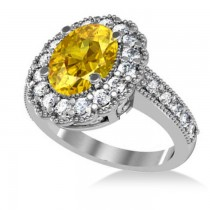 Yellow Sapphire & Diamond Oval Halo Engagement Ring 14k White Gold (3.28ct)