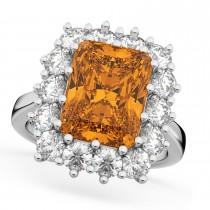 Emerald Cut Citrine & Diamond Lady Di Ring 14k White Gold (5.68ct)