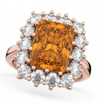 Emerald Cut Citrine & Diamond Lady Di Ring 18k Rose Gold (5.68ct)