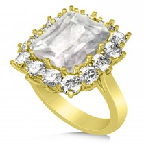 Emerald Cut White Topaz & Diamond Lady Di Ring 14k Yellow Gold 5.68ct