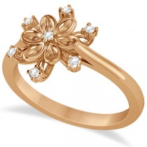 Small Diamond Snowflake Shaped Fashion Ring 14k Rose Gold (0.10ctw)