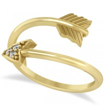 Cupid's Arrow Ring Diamond Accented 14k Yellow Gold (0.05ct)