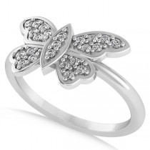 Butterfly Ring Diamond Accented 14k White Gold (0.23ct)