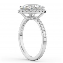 Oval Cut Halo Diamond Engagement Ring 14K White Gold (3.51ct)