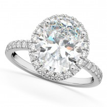 Oval Cut Halo Moissanite & Diamond Engagement Ring 14K White Gold 2.72ct