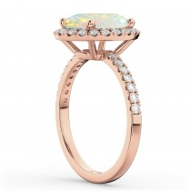 Oval Cut Halo Opal & Diamond Engagement Ring 14K Rose Gold 2.16ct