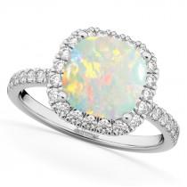 Cushion Cut Halo Opal & Diamond Engagement Ring 14k White Gold (3.11ct)