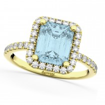 Aquamarine & Diamond Engagement Ring 18k Yellow Gold (3.32ct)