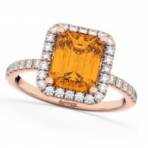 Emerald-Cut Citrine Diamond Engagement Ring 18k Rose Gold (3.32ct)