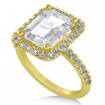 White Topaz Diamond Engagement Ring 18k Yellow Gold (3.32ct)
