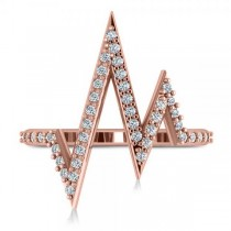 Round Diamond Heartbeat Pulse Vital Sign Ring 14k Rose Gold (0.42ct)