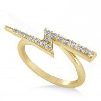 Diamond Lightening Bolt Fashion Ring 14K Yellow Gold (0.25ct)