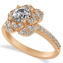 Diamond Flower Style Engagement Ring in 14k Rose Gold (1.27ct)
