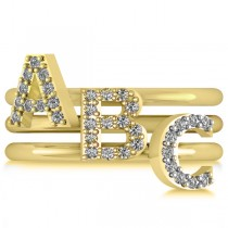 Diamond Capital Initial Ring Stackable 14k Yellow Gold (0.10ct)