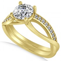 Diamond Accented Bypass Engagement Ring in 14k Yellow Gold (1.16ct)