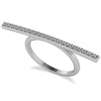 Horizontal Bar Ring with Diamond Accents 14k White Gold (0.30ct)