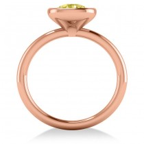 Cushion Cut Yellow Diamond Solitaire Engagement Ring 14k Rose Gold (1.40ct)