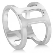 Double Bar Ring Plain Metal Abstract Design 14k White Gold
