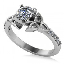 Round Diamond Celtic Knot Engagement Ring 14K White Gold (0.75ct)