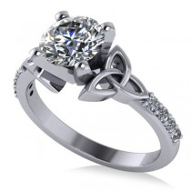 Round Diamond Celtic Knot Engagement Ring 14K White Gold (1.50ct)
