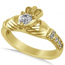 Diamond Claddagh Engagement Ring in 14k Yellow Gold (0.42ct)