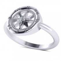 Diamond Accented Compass Fashion Ring in 14k White Gold (0.01ct)