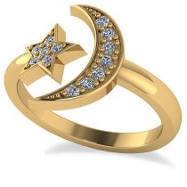 Crescent Moon and Star Diamond Ring 14k Yellow Gold (0.17ct)