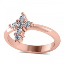 Small Religious Cross Round-Cut Diamond Ring 14k Rose Gold (0.30ct)