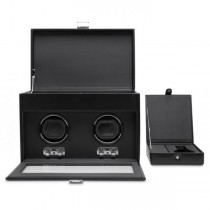 WOLF Heritage Men's Double Watch Winder w/ Storage Glass Cover Removable Travel Case