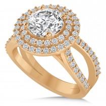 Double Halo Diamond Engagement Ring 14k Rose Gold (2.27ct)