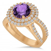 Double Halo Amethyst Engagement Ring 14k Rose Gold (2.27ct)