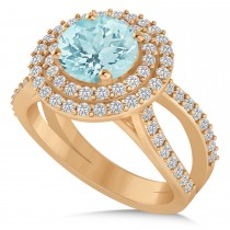 Double Halo Aquamarine Engagement Ring 14k Rose Gold (2.27ct)