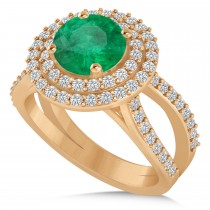 Double Halo Emerald Engagement Ring 14k Rose Gold (2.27ct)