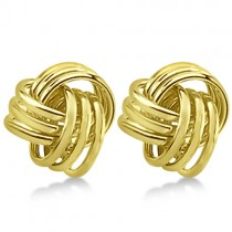 Love Knot Stud Earrings 14K Yellow Gold (10.5mm)