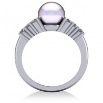 Pearl & Diamond Accented Engagement Ring 14k White Gold 8mm (0.40ct)
