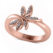 Diamond Accented Palm Tree Fashion Ring in 14k Rose Gold (0.12ct)