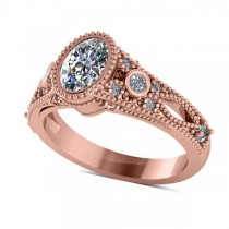 Vintage Style Oval Diamond Engagement Ring 14k Rose Gold (1.80ct)