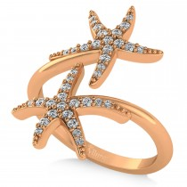 Diamond Double Starfish Fashion Ring 14k Rose Gold (0.30ct)