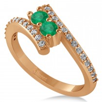 Emerald Two Stone Ring w/Diamonds 14k Rose Gold (0.50ct)