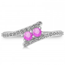 Pink Sapphire Two Stone Ring w/Diamonds 14k White Gold (0.50ct)