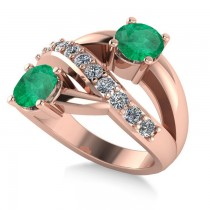 Emerald & Diamond Ever Together Ring 14k Rose Gold (2.00ct)