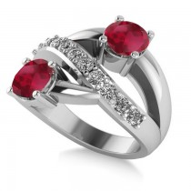 Ruby & Diamond Ever Together 2-Stone Ring 14k White Gold (2.00ct)